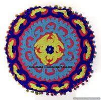 "16"" Indian Round Mandala Cushion Cover Pillow Case Suzani Embroidery Throw Decor"