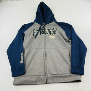 Champion Adult Pittsburgh Panthers Sweater Blue Gray Full Zip Hodded Mens
