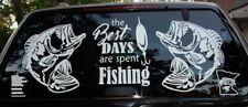 (2) Bass decals Fish Large Vinyl Boat Fishing graphics big sticker window canoe