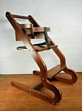 Helo Prestige Dark Wooden Baby Child High Chair with Straps Commercial Quality