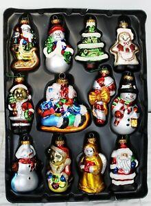 12 G&D Blown Mercury Glass Christmas Ornaments Holiday Santa Snowman