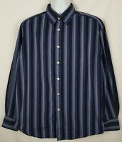 Robert Graham R&G Shirt Mens XL Long Sleeve Flip Cuff Button Front Blue Striped