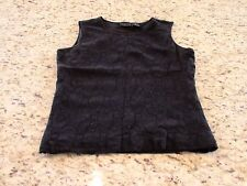 Laura Scott Womens Black Floral Tank Top Size M GUC