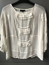** NEW TOPSHOP Cream White Embroided Floral Chiffon Vintage Blouse UK 8/10