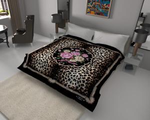 Solaron Blanket Thick Ultra Fine Polyester Mink Plush Leopard Flower Heavy Weigh