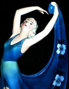 ANTIQUE GERMAN ART DECO GOLDSCHEIDER KATZHUTTE LADY DANCER PORCELAIN FIGURINE