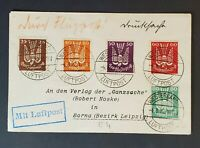 1922 Westerland to Borna Leipzig Germany Scott C3 - C7 Inflation Air Mail Cover
