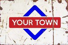 Sign West Malling Aluminium A4 Train Station Aged Reto Vintage Effect