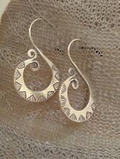 Hill Tribe hmong 925 Silver handmade hammered swirl drop Earrings