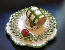 VINTAGE HANDMADE SUP 2 PLATES PORCELAIN SET SCULPTURES FLOVERS, APPLE DESIGN
