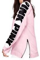 Victoria's Secret Pink New Oversize Varsity Sweatshirt Side-Zip Pink Small NWT