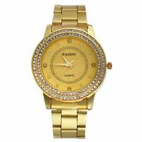 Fashion Mens Gold Tone Stainless Steel Rhinestone Dial Analog Quartz Wrist Watch