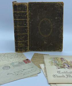 1862 Holy Bible, 1st Ed American Bible Society, Leather bound Antique, Ephemera