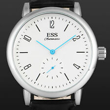 ESS Mechanical Watch Men's Army Analog Automatic Movement Leather Strap White