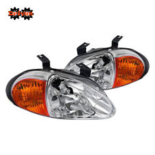 For Honda Del Sol 93-97 Chrome Headlights w/ Amber Reflector