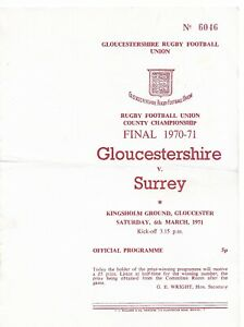 GLOUCESTERSHIRE v SURREY RUGBY UNION COUNTY CHAMPIONSHIP FINAL 6  MARCH 1971