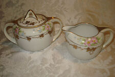 VINTAGE HAND PAINTED FLORAL NIPPON CREAM & SUGAR W/ HEAVY GOLD GILT TRIM&BEADING