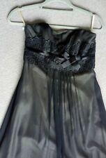 Monsoon Size 8 Dress Long Black Silk Strapless / straps Prom Bridesmaid NEW