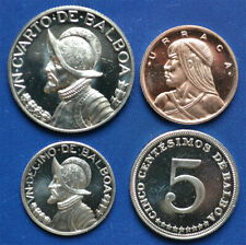PANAMA 1 & 5 Centesimos,1/10 & 1/4 Balboa 1971 Proof (4 coins)