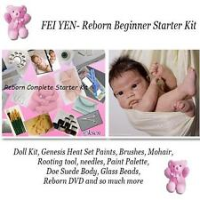 REBORN Starter Beginner Kit, Genesis paints, Mohair, DVD, DOLL KIT- FEI YEN