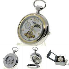 Tourbillon Mechanical Pocket Watch Silver Men Sun Moon Small Second on Chain 298