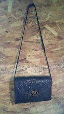 Vintage Hand-Tooled Genuine Leather Purse Hand bag Over Shoulder Black