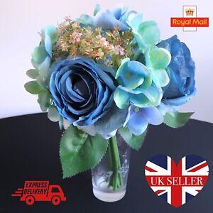 Bunch Blue Artificial Rose Hydrangea Bouquet Faux Silk Floral Flower Display