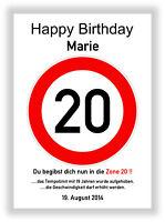 Verkehrszeichen Bild 20 Geburtstag Deko Geschenk persönliches Verkehrsschild NEU