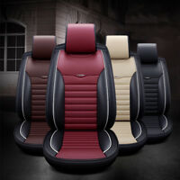 Universal Car Truck SUV Seat Cover Front Rear PU Leather Full Set Cushion 5 Seat