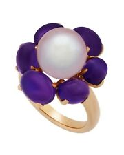 Mimi Milano Ring In 18K Rose Gold, Amethyst And Violet Freshwater Pearl A308C3A