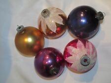 """5 Vintage Large Christmas Ornament Balls 3"""" - Shiny Brite Snow Cap & Made In USA"""