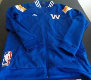 GOLDEN STATE WARRIORS Basketball ADIDAS Track Style LARGE Jacket 2014 Blue NBA