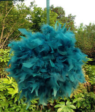 Feather Pom Poms Kissing Ball Decorate Ball Chandelle Ball 6 Inch-Teal