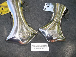 PAIR OF STAINLESS STEEL EXHAUST SCRIPT TIPS FOR THE 39 40 41 CHEVROLET # 126