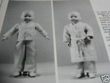 "14"" JOINTED Boy Doll Pattern PAJAMAS & Robe PJ's / Barbara Manhart"