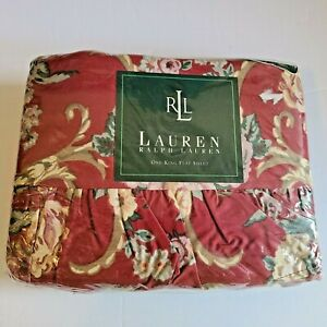 Ralph Lauren Marseilles Danielle Red Floral Ruffled King Flat Sheet Rare NIP
