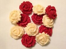 Ruby Red and Ivory Roses - Edible Sugar Paste - Cup Cake Decorations, Toppers