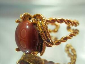 Brown Art Glass Vintage 60's Very Fun Showy Chunky Adjustable Size Ring 674a1