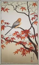 Toshi Yoshida Japanese Woodblock Bird in Autumn, Fine, Beautiful & Framed!