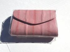 Genuine Eel Skin Leather Indi Pink Divided Coin Purse Popper (Trapezoid) Light