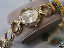 Nice New Q&Q by Citizen Gold Tone Lady Dress Watch w/Diamond Bezel
