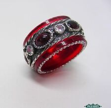New Sterling Silver CZ Garnet And Red Acrylic Swiveling Band Ring