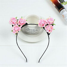Cat Ears Pink Flower Hairband Headband Cosplay Party Halloween Orecchiette