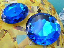 Acrylic Sharp-back Round Shaped 35mm Blue Color Stone No Hole - 2 pcs