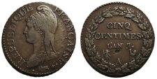 Directoire, 5 centimes L'An 7/5 A, Paris, 7 sur 5, TTB