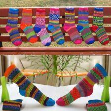 Damen Herren Vintage Baumwolle Socken Design Winter Warm Weich Bunt Mode