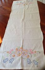 Vintage Linen Table Runner Beautiful Flowers Hand Embroidered 18 By 38""