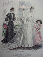 """68/ GRAVURE DE MODE """" Moniteur de la Mode Paris 1891 """".   Grand format 36x26"""
