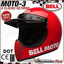 CASCO VINTAGE INTEGRALE / OFFROAD BELL MOTO-3 CLASSIC RED ROSSO LUCIDO L