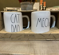 Rae Dunn - CAT DAD and MEOW - White LL Ceramic Coffee Mug Gift Set of 2